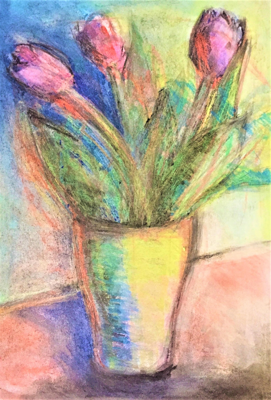 Plastyka online - ,,Tulipany w wazonie